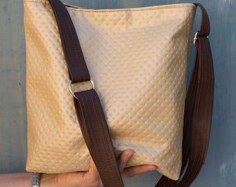 Soft gold embossed hobo slouch bucket shoulder cross body handbag  bag
