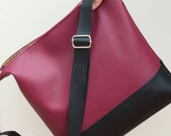 Burgundy and black hobo slouch bucket shoulder cross body handbag  bag