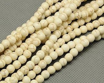 "Ivory 6mm Round Natural Turquoise Gemstone Beads (15"" Strand)"
