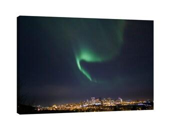 Northern Lights over Edmonton Canvas Wall Art