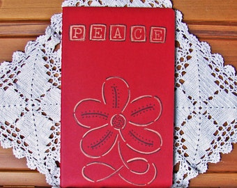 Moleskine Cahier Journal-Cranberry Red with Hand-Stamped Peace and Flower