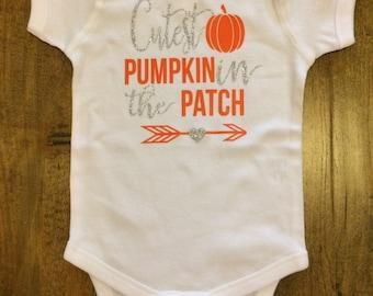 Infant Pumpkin Shirt; Infant Pumpkin Onesie; Infant Pumpkin T-shirt; Cutest Pumpkin In The Patch Shirt