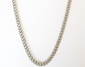 Silver Curb chain and bracelet set