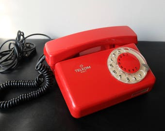 Red Phone, Vintage Rotary Phone, Working Rotary Telephone, Midcentury Modern Dial  Rotary Phone,Black Dial White Numerals Desk Phone,Poland