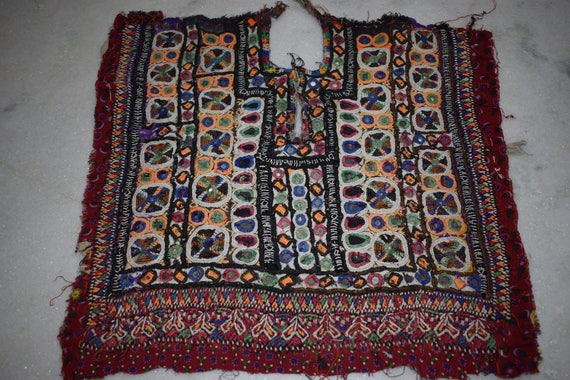 Indian vintage neck yoke embroidery of beads work and for Mirror 18 patch