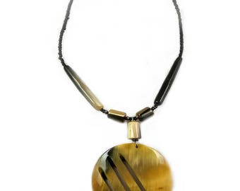 Cow horn necklace, African necklace, Kenyan necklace, Tribal necklace, Traditional necklace
