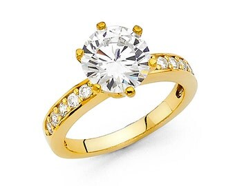 2.0 Ct Diamond Solitaire Engagement Wedding Bridal Ring 14K Yellow Gold 4.4 gr