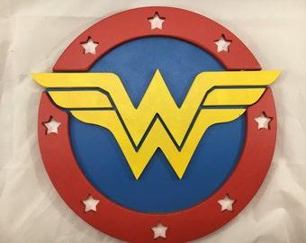 Wonder Woman Sign - 12inch round - 3D