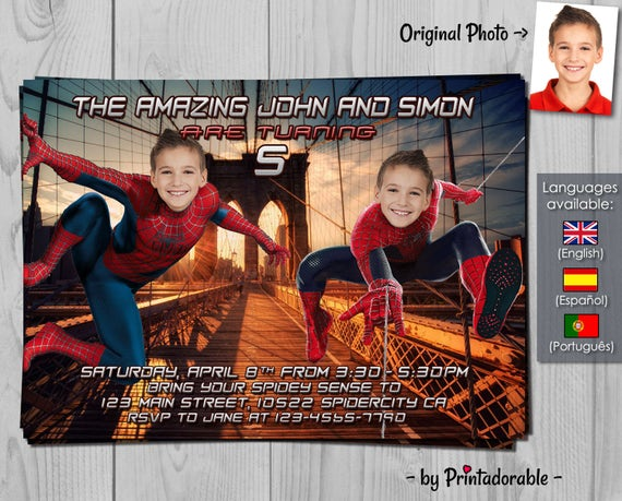 Amazing Spiderman Invite for brothers or twins - Digital invitation