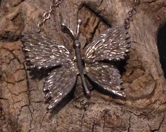Vintage Silver Butterfly Necklace