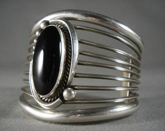 Gigantic Vintage Navajo 'Domed Jet' Silver Bracelet