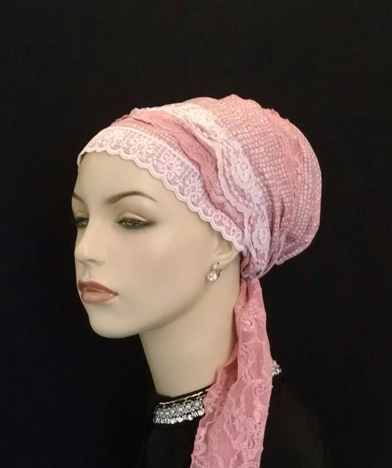 Mauve lots of lace cotton sinar tichel, tichels, chemo scarves, head wraps, head scarves