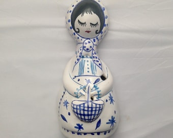 Faience Wall Vase French Vintage Ceramic Porcelain Vase Wall Decor ( Ref no. A80 )
