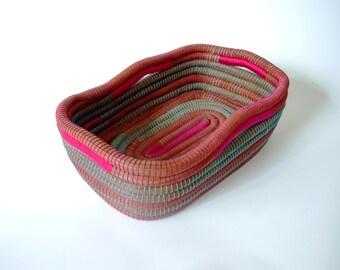 Multicolor Basket, Pine Needle Basket, Hand-woven Basket, Home Decor,Rustic Basket,Home Decoration,Basket,Rectangular Basket,Weaved Basket