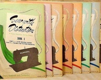 Vintage 1953 Sears Picture Reference Sewing Course Eight Book Set How to Sew with 50's Fashions