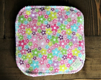5 Baby Cloth Wipes, Bamboo Terry, Cotton Flannel, Pretty Pink Flowers