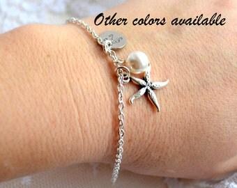 Starfish bracelet Bridesmaid gifts Beach weddings Bridesmaid bracelet Wedding bracelet Bridal bracelet Personalized starfish bracelet