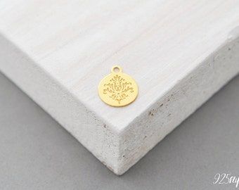 925 Sterling Silver round gold plated, round pendant, round charms, round, flower silver, flower silver, flower pendant, shark pendant