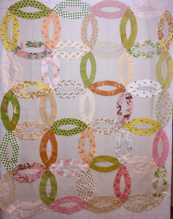 New Queen Quilt In A Box Double Wedding Ring Pre Cut