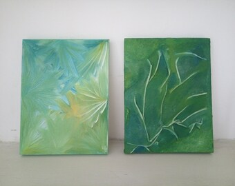 Canvas Art, Small Art, Set of 2, Green Art Painting Abstract Art Small Canvas Art 20X15cm