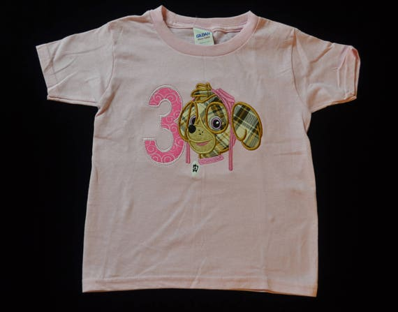 Skye Paw Patrol Birthday Shirt- Child Birthday Shirt- Personalized Birthday Shirt- Embroidered Birthday Shirt- Birthday Shirt