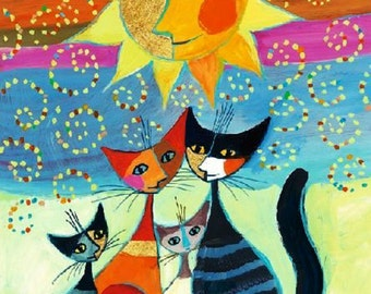 BUY 2 GET 1 FREE! Cats with moon muzzles Cross Stitch Pattern Counted Cross Stitch Chart, Pdf Format, Instant Download /154220