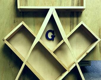Masonic inspired DVD/  video game floating shelf