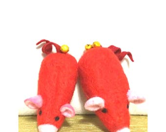 Red Mother and son Pair, Needle Felted Ornaments