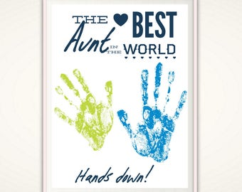 Birthday Gift for Aunt - Aunt Gift from Nephew, From Niece, Handprint Art, Mothers Day Gift for Aunt, Personalized Aunt Gift,  INSTANT Pdf