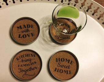 Mason Jar Drink Coasters/Country Party Decor/Cork Coasters/Rustic Decorations/Silver Lids/Beautiful sayings coaster/LOVE Coaster