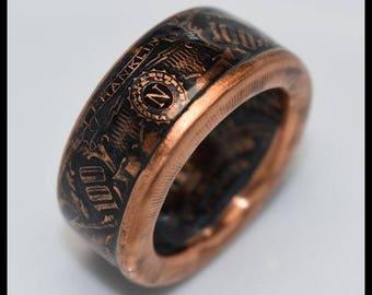 Copper Coin Ring - Benjamin Franklin - Bank Note - Mens Ring - Mens Gift