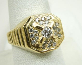 2035 NEW Solid 14K Yellow Gold 0.55 Carat Diamond Mens Ring, Size 8, 7.7 grams