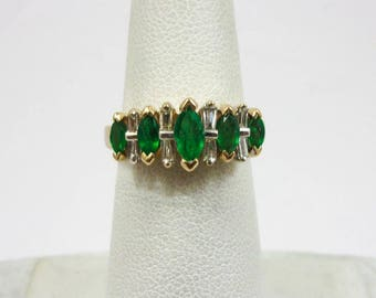 Solid 14K Yellow Gold 0.93 Carat Emerald and Diamond Ring, Size 6, 3.7 grams