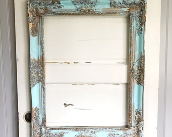 Aque Blue Shabby Chic Frame Hand Painted French Santos Picture Frames Baroque Frame Large Wall Art Antique Style Frames