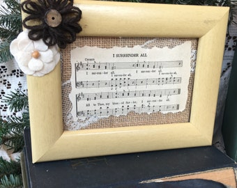 "4 x 6 Framed Vintage Hymnal ""I Surrender All"""