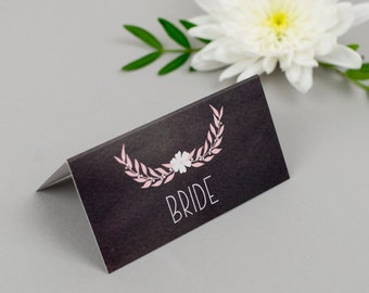 Chalkboard Wedding Table Place Cards - Dusky Romance