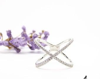 X Cross Ring Cz 925 Silver Yellow Rose Gold