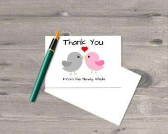 50 Personalized Love Bird Wedding Thank You Cards, Bridal Shower Thank You Cards, Thank You Notes, Lovebirds, Love Birds