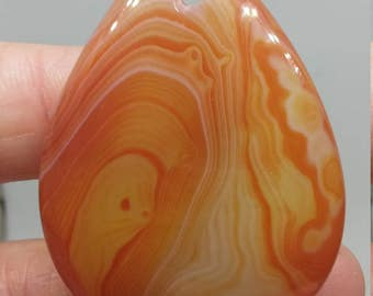 Orange yellow red stripes agate pendant bead(474)