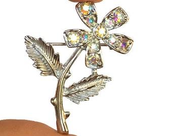 Aurora Borealis flower pin Sarah Coventry mini fleur brooch iridescent stones