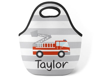 Fire Truck Lunch Tote - Gray Stripe Firefighter Lunch Bag, Boys Red Firetruck Personalized Neoprene Lunch Tote Bag - Kids Personalized Gift