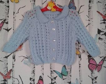 SALE Boys Cardigan, Baby Cardigan, Baby Boy, 1 Year Old, Handmade, Hand Knitted