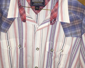 Vintage Panhandle Slim long-sleeve western cowboy shirt in red/white/blue, Sz XXL