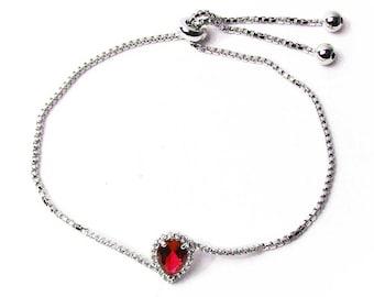 Stunning Red Cz Silver Dangle Link Bracelet