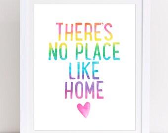 There's No Place Like Home, Rainbow Print, Wizard of Oz Print, Wizard of Oz Quote, Playroom Print, Girls Nursery Art, Printable Wall Art,