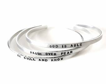 SKINNY CUFFS inspirational 1/8 inch aluminum cuff bracelet | faith over fear | god is able | be kind always | be still and know | keep going