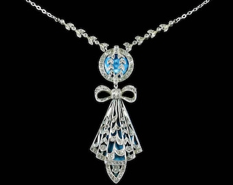 Antique Art Deco Silver Blue Enamel Pendant Necklace