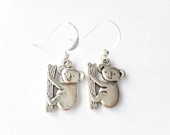 Silver Koala Drops . Earrings