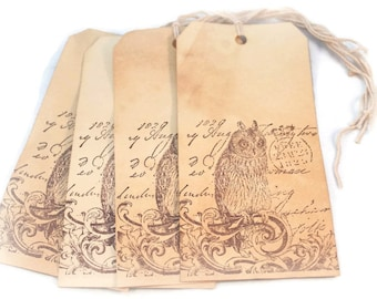 Owl Tags, Tea Stained Hang Tags, Halloween Tags,  Large Grungy Shabby Primitive Gift Tags, Hang Tags, Luggage Tags, Shabby Vintage Tags