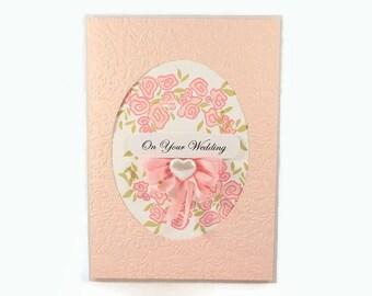 Wedding Day Card, Elegant Wedding, On Your Wedding, Card For Wedding Couple, Wedding Gift,  Luxury Wedding Card, Fancy Card, Floral, Flower